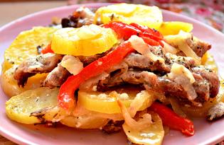 Картофель, запеченный со свининой и болгарским перцем (пошаговый фото рецепт)