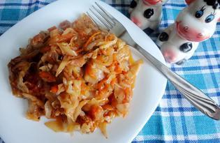 Тушеная капуста с томатным соусом (пошаговый фото рецепт)