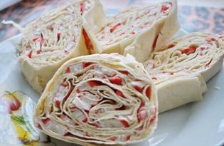 Быстрая закуска из лаваша с крабовыми палочками (пошаговый фото рецепт)