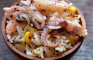 Салат с киноа и морепродуктами (пошаговый фото рецепт)