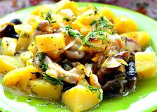 Шиитаки с картофелем в духовке (пошаговый фото рецепт)