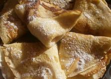 Блины на молоке и сметане с сахарной пудрой (пошаговый фото рецепт)
