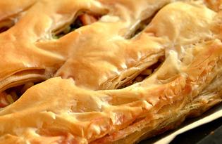 Пирог из слоеного теста с курицей и булгуром (пошаговый фото рецепт)