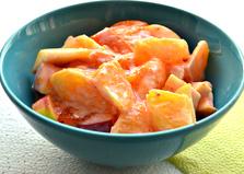 Десерт из апельсина и хурмы (пошаговый фото рецепт)