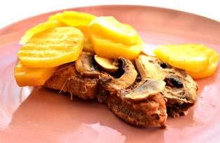 Свинина, запеченная в фольге с картофелем и шампиньонами (пошаговый фото рецепт)