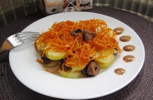 Салат с картофелем, грибами и корейской морковью (пошаговый фото рецепт)