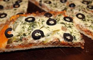 Пицца с фаршем и солеными огурцами (пошаговый фото рецепт)