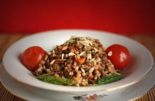 Гречневая каша с чечевицей и грибами (пошаговый фото рецепт)