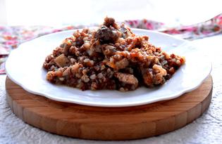 Гречневая каша со свининой и шампиньонами (пошаговый фото рецепт)