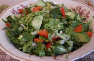 Летний салат с заправкой (пошаговый фото рецепт)