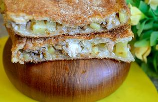 Пирог с картошкой и курицей на слоеном дрожжевом тесте (пошаговый фото рецепт)