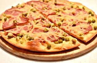 Пицца с зеленым горошком и копченой колбасой (пошаговый фото рецепт)