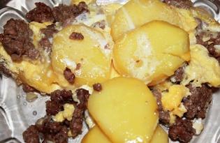 """Картофель с фаршем и яйцом """"Сытный"""" (пошаговый фото рецепт)"""