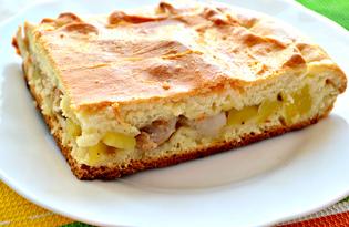 Пирог с картофелем, свиным салом и курицей (пошаговый фото рецепт)
