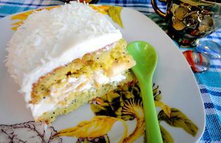 Орехово-маковый бисквит с банановой начинкой (пошаговый фото рецепт)