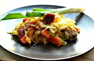 Свинина тушеная с капустой и овощами (пошаговый фото рецепт)
