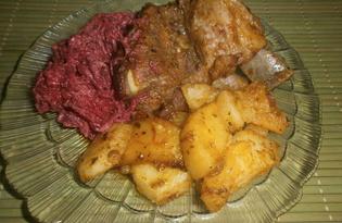 Свиные ребрышки, запеченные с хреном и картофелем (пошаговый фото рецепт)