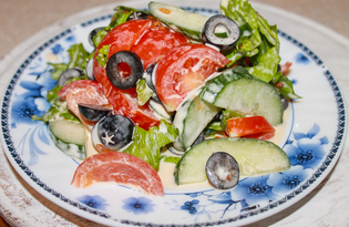 Овощной салат с маслинами (пошаговый фото рецепт)