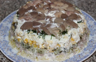 """Салат """"Полянка"""" с грибами (пошаговый фото рецепт)"""