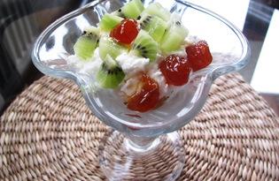 Творожный десерт с киви и печеньем (пошаговый фото рецепт)