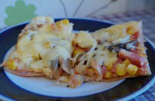 Пицца из слоеного теста с ветчиной и грибами (пошаговый фото рецепт)