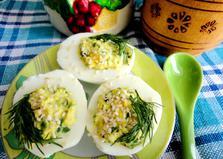 Яйца, фаршированные черемшой (пошаговый фото рецепт)