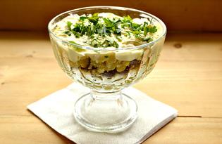 Слоеный салат с отварной говядиной и свежей петрушкой (пошаговый фото рецепт)