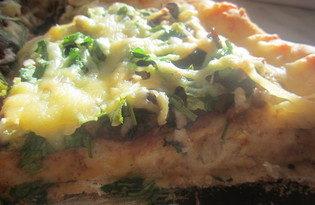 Классическая пышная пицца с мясом и грибами (пошаговый фото рецепт)