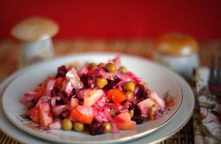 Винегрет с сельдью и квашеной капустой (пошаговый фото рецепт)