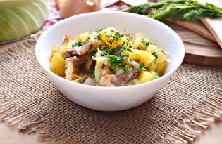 Капуста тушеная на сале с картофелем (пошаговый фото рецепт)