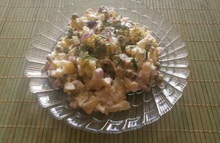 Салат «Оливье» с маринованными грибами и красным луком (пошаговый фото рецепт)