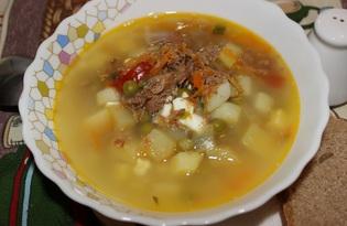 Суп с тушенкой, сыром, яйцом (пошаговый фото рецепт)