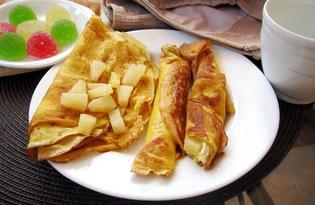 Блины с творогом и ананасом (пошаговый фото рецепт)