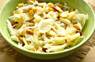Капустный салат с яблоком и кукурузой (пошаговый фото рецепт)