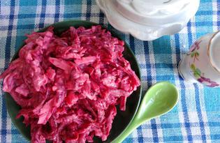 Свекольный салат с сыром, орехами и соевым соусом (пошаговый фото рецепт)