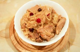 Мясо в соусе с вермишелью и капустой (пошаговый фото рецепт)