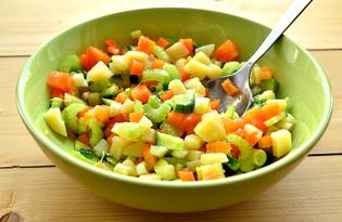 Постный картофельный салат с сельдереем (пошаговый фото рецепт)