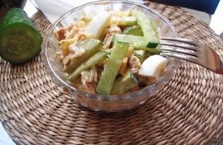 Салат из курицы с огурцом под острой заправкой (пошаговый фото рецепт)