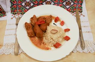 Индейка в яблочном соусе (пошаговый фото рецепт)