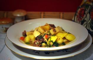 Картофель с говяжьей тушенкой по-дачному (пошаговый фото рецепт)