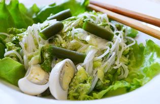 Салат с фунчозой и стручковой фасолью (пошаговый фото рецепт)