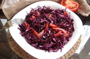 Салат из свежей краснокочанной капусты (пошаговый фото рецепт)