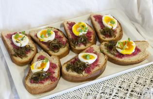 Бутерброд с яйцом, хреном и морской капустой (пошаговый фото рецепт)