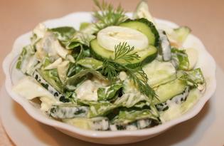 Весенний салат с яйцом и огурцом (пошаговый фото рецепт)