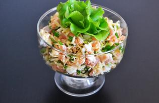 Закусочный салат с семгой и сыром (пошаговый фото рецепт)