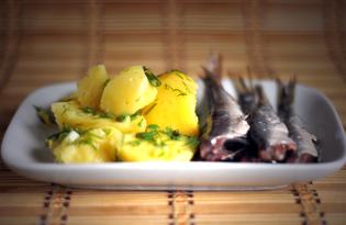 Отварной картофель с салакой (пошаговый фото рецепт)