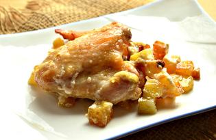 Куриные крылышки, запеченные на картофельной подушке (пошаговый фото рецепт)