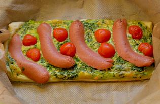 Быстрый пирог с сосисками и сыром (пошаговый фото рецепт)