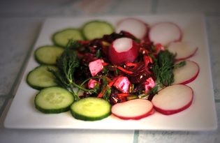 Весенне - зимний салат из свеклы с зеленью (пошаговый фото рецепт)