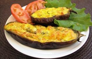 Запеченные баклажаны с творогом и сыром (пошаговый фото рецепт)